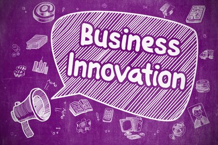 Speech Bubble with Wording Business Innovation Hand Drawn. Illustration on Purple Chalkboard. Advertising Concept. Stock Photo