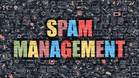 unwanted: Spam Management Concept. Modern Illustration. Multicolor Spam Management Drawn on Dark Brick Wall. Doodle Icons. Doodle Style of  Spam Management Concept. Spam Management on Wall.