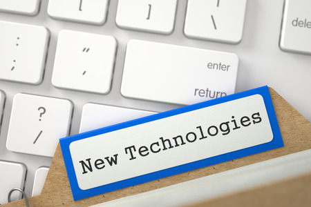 new technologies: New Technologies written on Blue Card File on Background of White Modern Computer Keypad. Closeup View. Blurred Illustration. 3D Rendering. Stock Photo