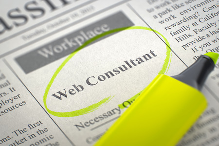page rank: Web Consultant - Small Ads of Job Search in Newspaper, Circled with a Yellow Marker. Blurred Image with Selective focus. Job Search Concept. 3D Rendering. Stock Photo