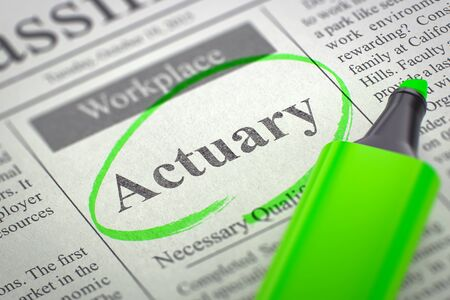 actuary: Actuary - Small Ads of Job Search in Newspaper, Circled with a Green Marker. Blurred Image with Selective focus. Job Seeking Concept. 3D Render. Stock Photo