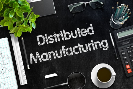 distributed: Distributed Manufacturing. Business Concept Handwritten on Black Chalkboard. Top View Composition with Chalkboard and Office Supplies. 3d Rendering. Toned Image.