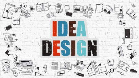 dea: Idea Design - Multicolor Concept with Doodle Icons Around on White Brick Wall Background. Modern Illustration with Elements of Doodle Design Style.