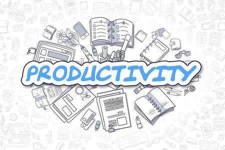 productivity: Productivity - Hand Drawn Business Illustration with Business Doodles. Blue Word - Productivity - Cartoon Business Concept. Stock Photo