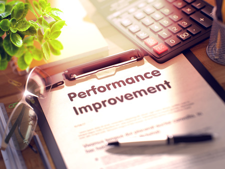 throughput: Performance Improvement on Clipboard with Sheet of Paper on Wooden Office Table with Business and Office Supplies Around. 3d Rendering. Toned Image. Stock Photo