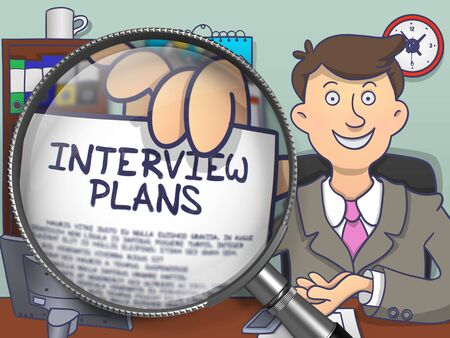 interrogatory: Interview Plans through Magnifier. Business Man Holds Out a Concept on Paper. Closeup View. Colored Modern Line Illustration in Doodle Style.