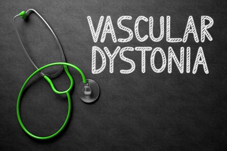 psd: Medical Concept: Vascular Dystonia Handwritten on Black Chalkboard. Black Chalkboard with Vascular Dystonia - Medical Concept. 3D Rendering.