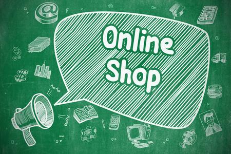 バルーンのオンライン ショップ。メガホンを金切り声の落書きイラスト。広告の概念。ビジネス コンセプトです。テキスト オンライン ショップのメガホン。手は、緑の黒板に図を描画します。
