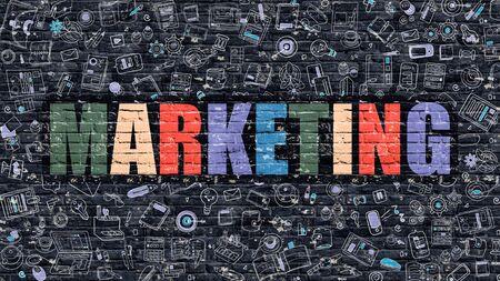 Concepto de marketing. Ilustración estilo de línea moderna. Multicolor marketing dibujada en la pared de ladrillo oscuro. Los iconos del Doodle. Diseño de estilo de bosquejo del concepto de marketing. La comercialización en la pared de ladrillo oscuro. Márketing.