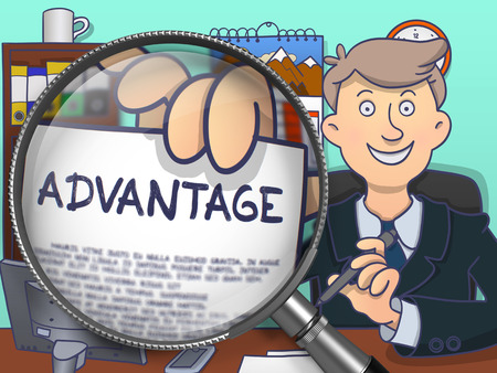 trump: Advantage. Stylish Businessman Sitting in Offiice and Holding a Concept on Paper through Magnifier. Multicolor Doodle Style Illustration. Stock Photo