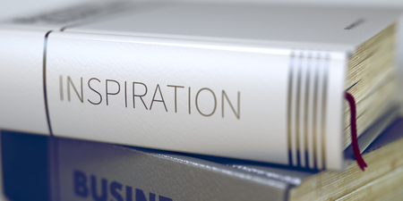 afflatus: Inspiration - Book Title on the Spine. Closeup View. Stack of Business Books. Inspiration Concept on Book Title. Blurred Image with Selective focus. 3D Rendering. Stock Photo