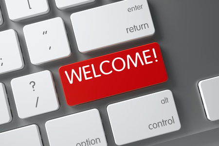 cordiality: Welcome Concept Computer Keyboard with Welcome on Red Enter Button Background, Selected Focus. 3D Illustration.
