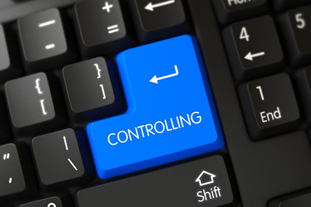 supervise: Controlling Concept: Modern Keyboard with Blue Enter Key Background, Selected Focus. 3D Render. Stock Photo