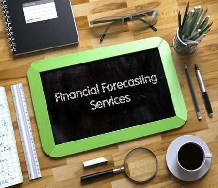 forecasting: Financial Forecasting Services - Text on Small Chalkboard.Financial Forecasting Services Handwritten on Small Chalkboard. 3d Rendering.