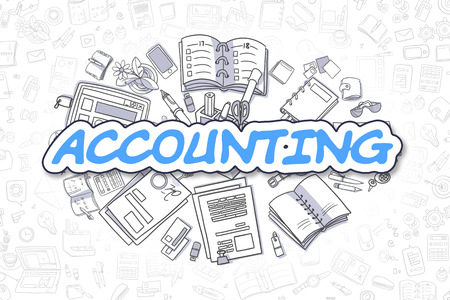 stocktaking: Business Illustration of Accounting. Doodle Blue Word Hand Drawn Doodle Design Elements. Accounting Concept.
