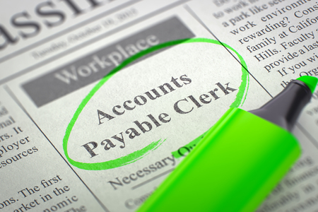 accounts payable: Accounts Payable Clerk - Small Ads of Job Search in Newspaper, Circled with a Green Highlighter. Blurred Image. Selective focus. Job Seeking Concept. 3D Rendering.