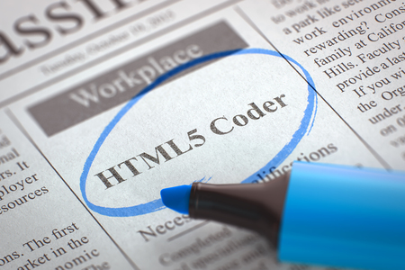 metadata: A Newspaper Column in the Classifieds with the Small Ads of Job Search of HTML5 Coder, Circled with a Blue Marker. Blurred Image with Selective focus. Concept of Recruitment. 3D.