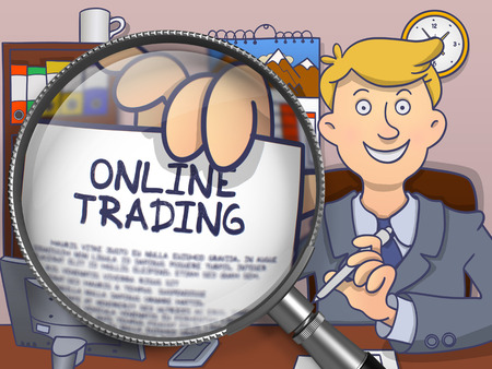 online trading: Online Trading on Paper in Officemans Hand through Lens to Illustrate a Business Concept. Multicolor Doodle Illustration. Stock Photo