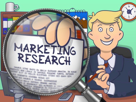 research paper: Marketing Research. Paper with Inscription in Officemans Hand through Magnifying Glass. Multicolor Doodle Illustration.