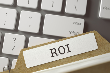 coefficient: ROI written on  Folder Index on Background of White PC Keyboard. Archive Concept. Closeup View. Blurred Toned Image. 3D Rendering.