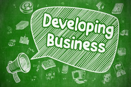competitividad: Bocadillo con la fraseología desarrollo del Doodle de negocios. Ilustración en la pizarra verde. Concepto de publicidad.