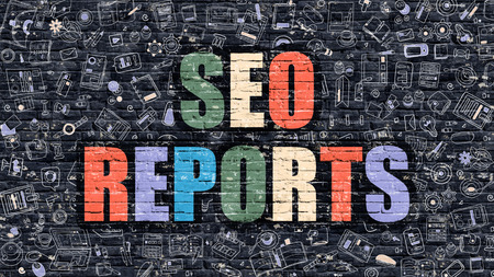 metasearch: SEO Reports Concept. SEO Reports Drawn on Dark Wall. SEO Reports in Multicolor. SEO Reports Concept. Modern Illustration in Doodle Design of SEO Reports.