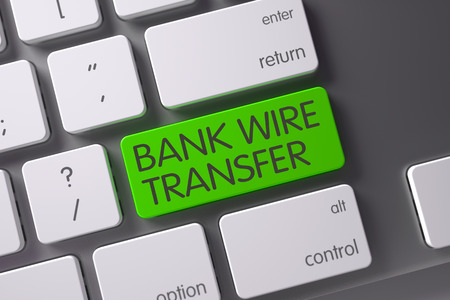 Bank Wire Transfer Concept: Metallic Keyboard with Bank Wire Transfer, Selected Focus on Green Enter Keypad. 3D Illustration.