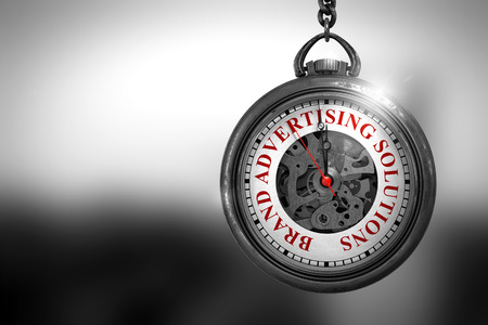 multi story: Brand Advertising Solutions Close Up of Red Text on the Vintage Pocket Watch Face. Business Concept: Vintage Pocket Clock with Brand Advertising Solutions - Red Text on it Face. 3D Rendering.