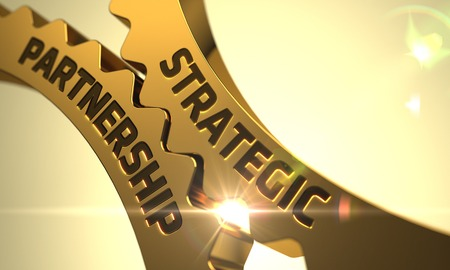 Asociación Estratégica sobre el Mecanismo de los engranajes metálicos de oro con la llamarada de la lente. Render 3D.