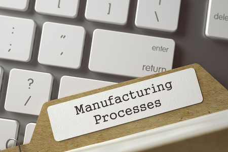 card index: Manufacturing Processes written on  Card Index Overlies Modern Metallic Keyboard. Business Concept. Closeup View. Selective Focus. Toned Illustration. 3D Rendering. Stock Photo