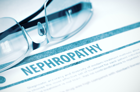 nephropathy: Nephropathy - Medical Concept with Blurred Text and Pair of Spectacles on Blue Background. Selective Focus. 3D Rendering.