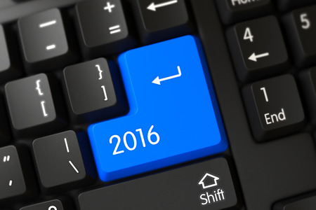 christmas budget: 2016 Written on a Large Blue Keypad of a Modernized Keyboard. 3D Render.