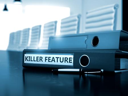 trait: Killer Feature. Business Illustration on Blurred Background. Folder with Inscription Killer Feature on Office Desk. 3D.