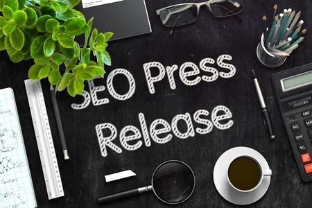 metasearch: SEO Press Release - Black Chalkboard with Hand Drawn Text and Stationery. Top View. 3d Rendering. Toned Illustration.