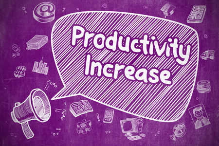growth enhancement: Shouting Megaphone with Inscription Productivity Increase on Speech Bubble. Hand Drawn Illustration. Business Concept.
