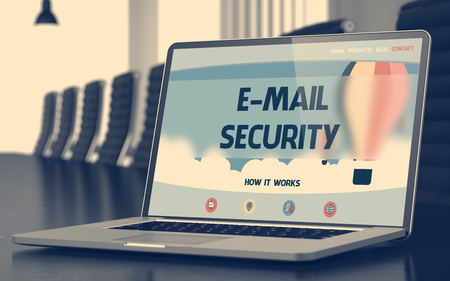 email security: Modern Meeting Hall with Laptop on Foreground Showing Landing Page with Text E-mail Security. Closeup View. Toned. Blurred Image. 3D Illustration. Stock Photo