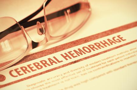hemorragia: Diagnóstico - hemorragia cerebral. Concepto médico con borrosa texto y lentes sobre fondo rojo. Enfoque selectivo. Representación 3D. Foto de archivo