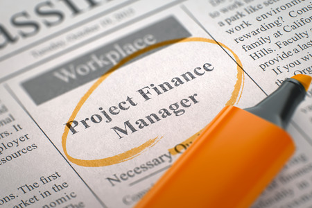 finance manager: Project Finance Manager. Newspaper with the Vacancy, Circled with a Orange Highlighter. Blurred Image with Selective focus. Job Seeking Concept. 3D Illustration.