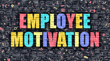 inducement: Employee Motivation Concept. Modern Illustration. Multicolor Employee Motivation Drawn on Dark Brick Wall. Doodle Icons. Doodle Style of  Employee Motivation Concept. Employee Motivation on Wall.