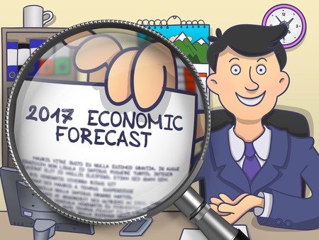 economic forecast: Man Holding a Paper with Inscription 2017 Economic Forecast Concept through Magnifying Glass. Closeup View. Multicolor Doodle Illustration. Stock Photo