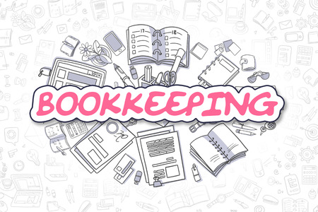 accountancy: Business Illustration of Bookkeeping. Doodle Magenta Word Hand Drawn Cartoon Design Elements. Bookkeeping Concept.