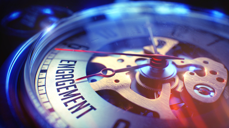 prompting: Business Concept: Engagement Text. on Pocket Watch Face with Close View of Watch Mechanism. Time Concept with Selective Focus and Lens Flare Effect. 3D Render.