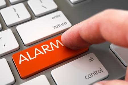 tumult: Finger Pressing on Aluminum Keyboard Orange Keypad with Alarm Sign. 3D Render.