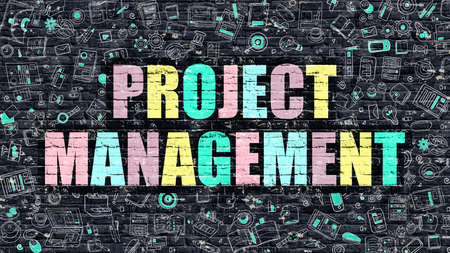 pm: Project Management. Multicolor Inscription on Dark Brick Wall with Doodle Icons. Project Management Concept in Modern Style. Doodle Design Icons. Project Management on Dark Brickwall Background.