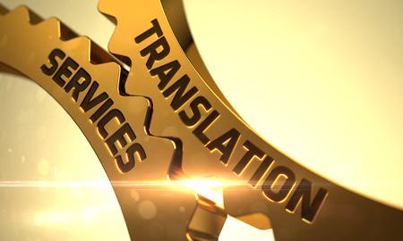 번역 서비스 - 기술 설계. 3D 렌더링. 번역 서비스 개념 황금 기어.