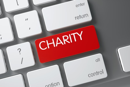 clemency: Charity Concept: Aluminum Keyboard with Charity, Selected Focus on Red Enter Button. 3D Illustration. Stock Photo
