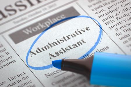 Une Colonne dans les petites annonces avec le poste vacant d'assistant administratif, cerclé avec un marqueur bleu. Flou avec mise au point sélective. Job Search Concept. 3D.