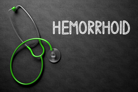 hemorrhoid: Hemorrhoid. Medical Concept, Handwritten on Black Chalkboard. Top View Composition with Chalkboard and Green Stethoscope. Medical Concept: Black Chalkboard with Hemorrhoid. 3D Rendering.