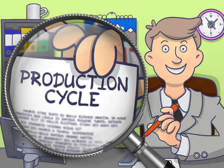 holds: Production Cycle through Magnifier. Officeman Holds Out a Paper with Concept. Closeup View. Multicolor Doodle Illustration.