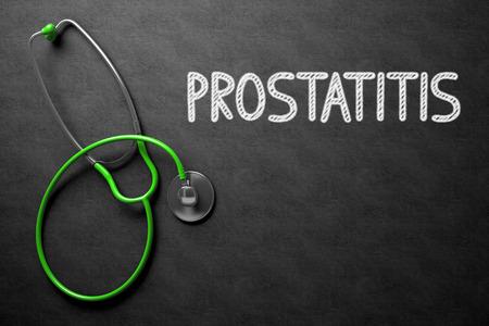 urogenital: Medical Concept: Black Chalkboard with Handwritten Medical Concept - Prostatitis with Green Stethoscope. Top View. Medical Concept: Black Chalkboard with Prostatitis. 3D Rendering. Stock Photo